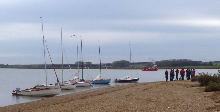 Wayfarers anchored off the shore at Brancaster on a Training weekend